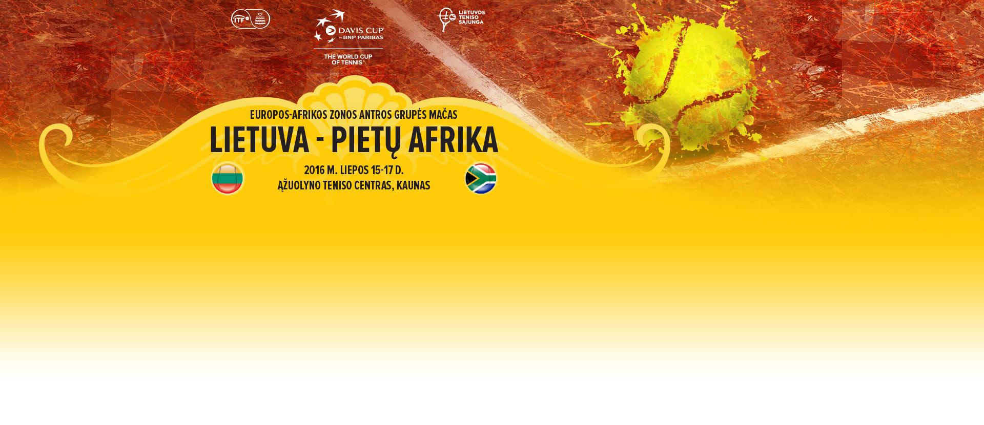 Davis Cup by BNP Paribas: Lietuva - Pietų Afrika