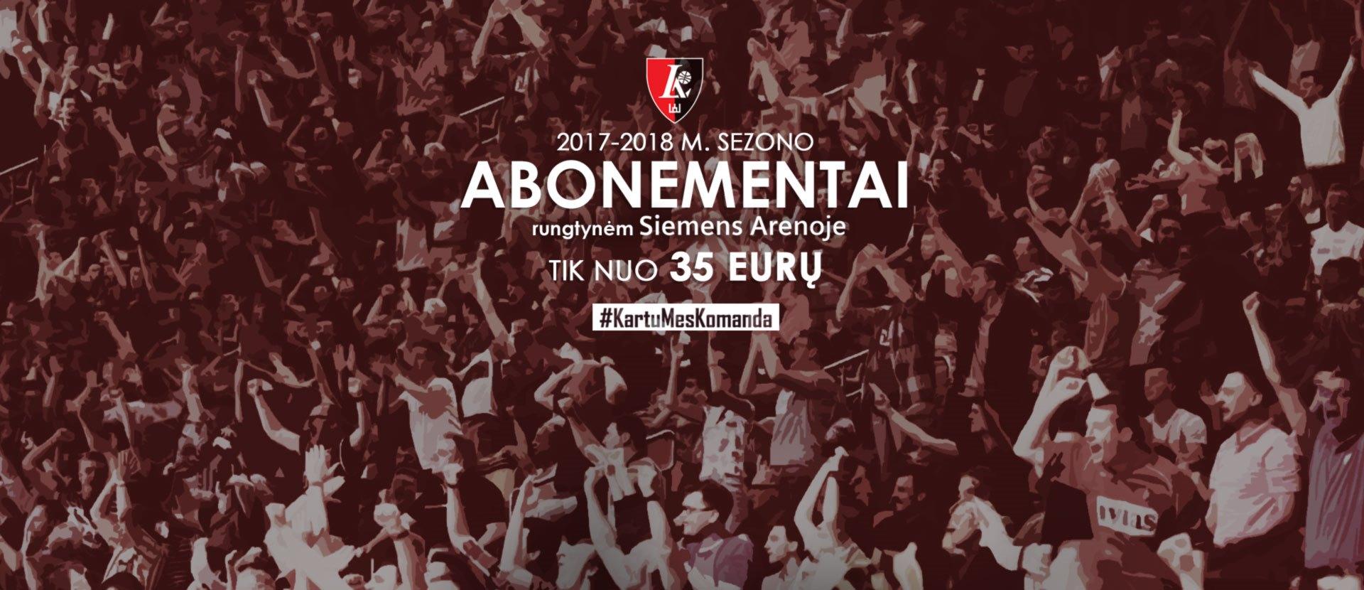 "Vilniaus ""Lietuvos ryto"" sezoniniai abonementai 2017 / 2018 m."