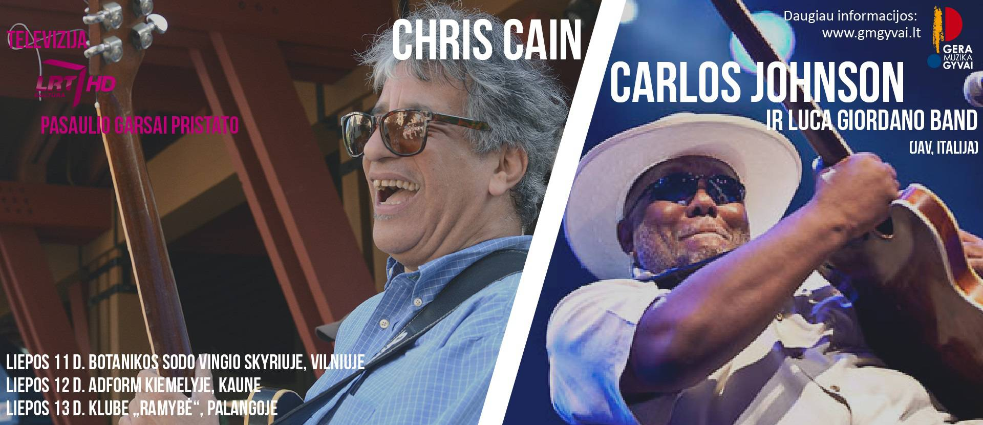 "Carlos Johnson vs Chris Cain ir ""Luca Giordano band"" (JAV, Italija)"